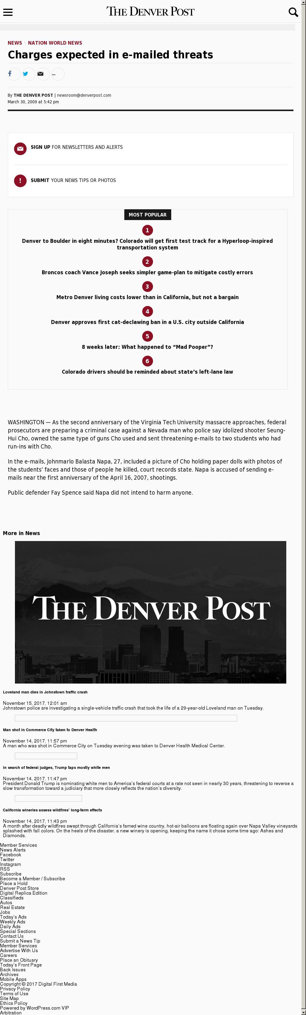 Denver Post at Wednesday Nov. 15, 2017, 8:02 a.m. UTC