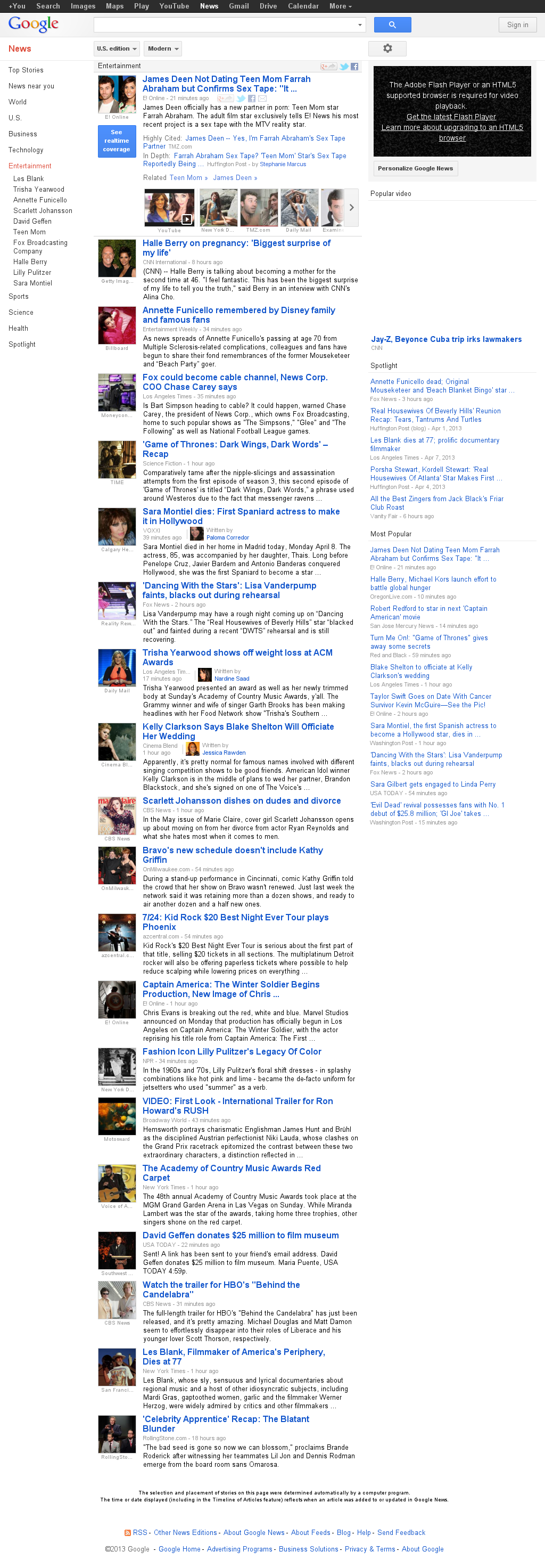 Google News: Entertainment at Monday April 8, 2013, 9:08 p.m. UTC
