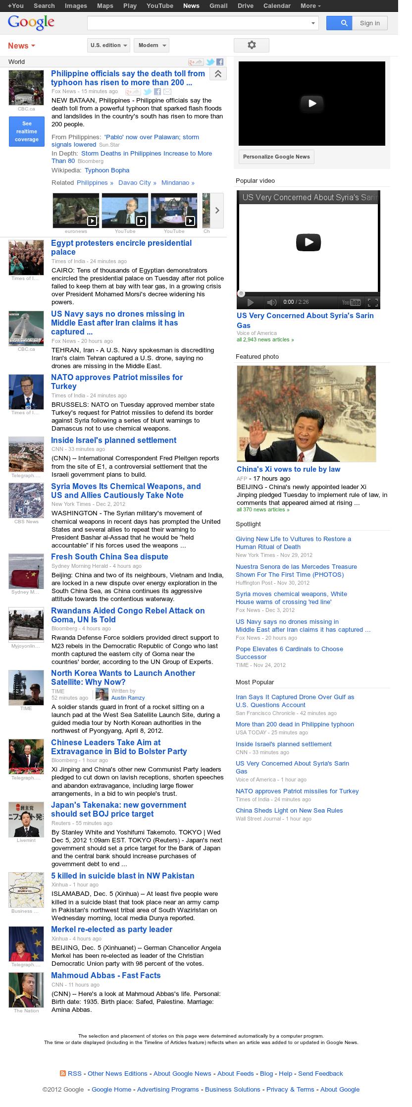 Google News: World at Wednesday Dec. 5, 2012, 7:13 a.m. UTC
