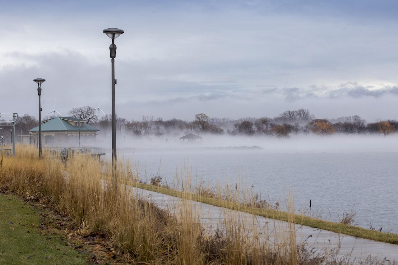 Foggy view in Geneva over Seneca Lake (photo)