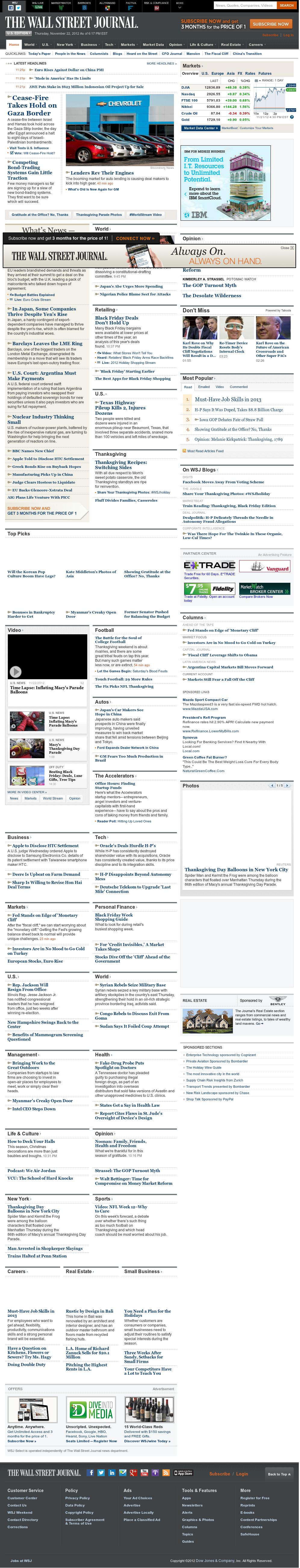 The Wall Street Journal at Thursday Nov. 22, 2012, 11:37 p.m. UTC